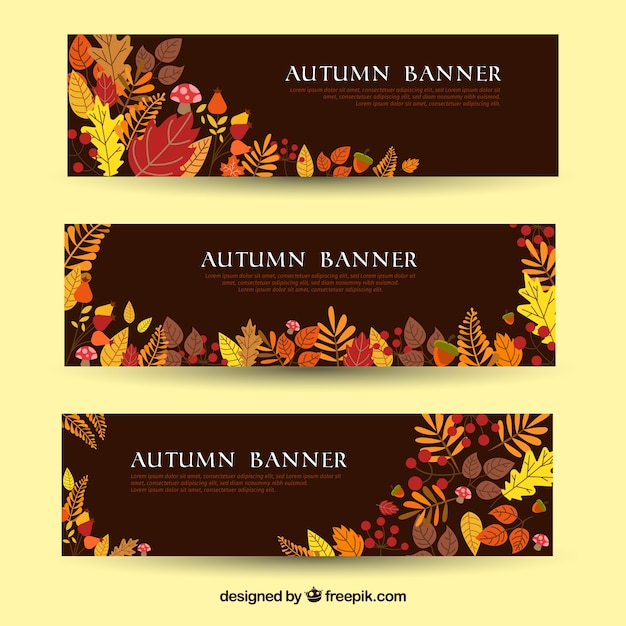 Autumn banners withcolorful style