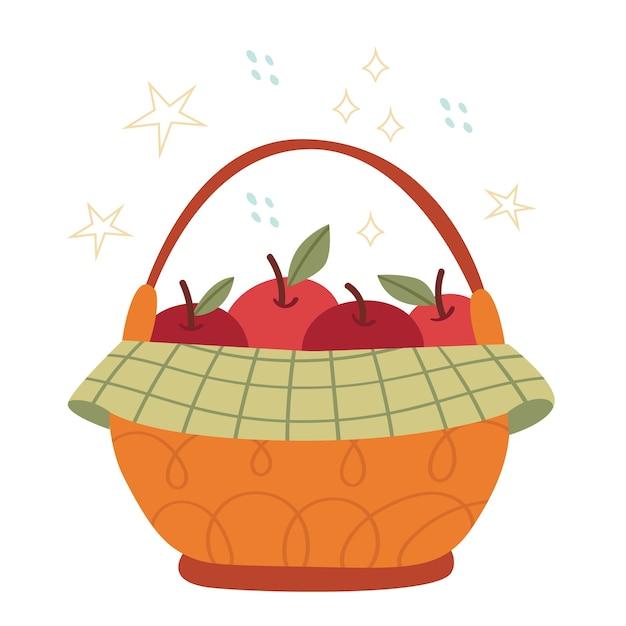 Осенняя корзина с большими яблоками. концепция урожая. органические продукты. Premium векторы