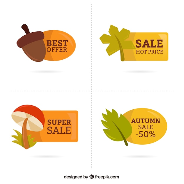 Autumn Beautiful Stickers With Offers Free Vector