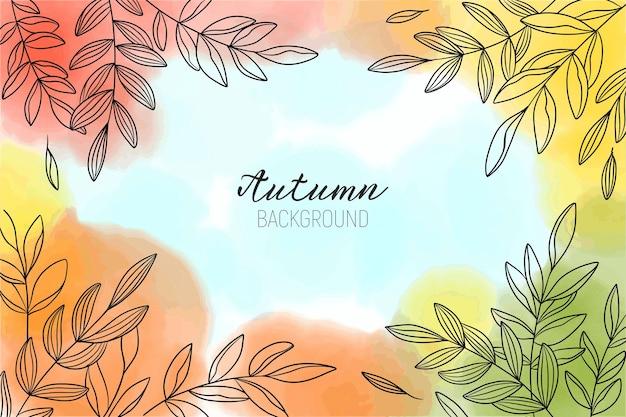 잎가 아름다운 수채화 배경 프리미엄 벡터