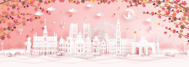 Autumn in brussels, belgium with falling maple leaves and world famous landmarks Premium Vector