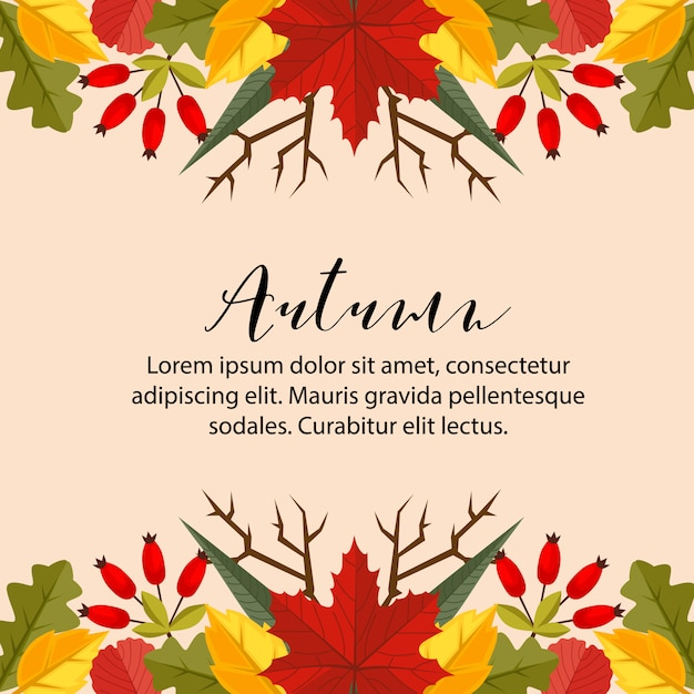 Autumn card border horizontal nature leaves flat style background Premium Vector