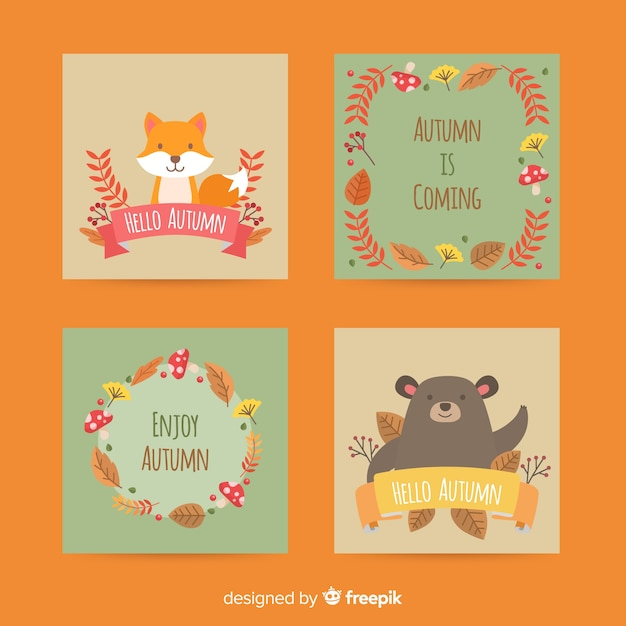 Autumn card collection flat design Free Vector