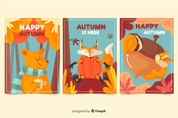 Progettazione disegnata a mano della raccolta della carta di autunno Vettore gratuito