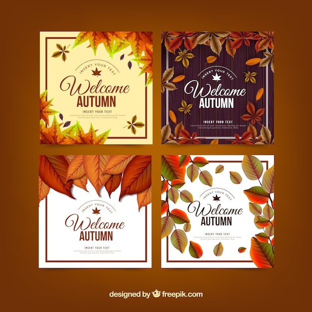 Autumn card collection with realistic design