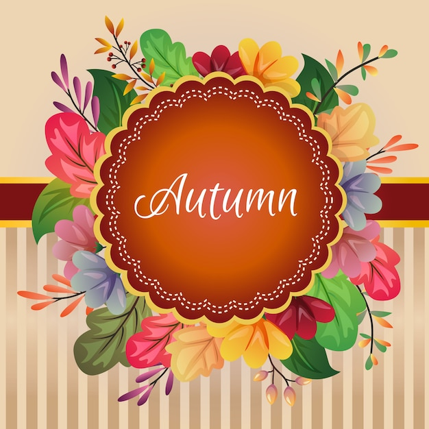 Autumn card fall colored leaves decoration Premium Vector