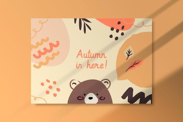 Осенний шаблон карты с медведем Бесплатные векторы
