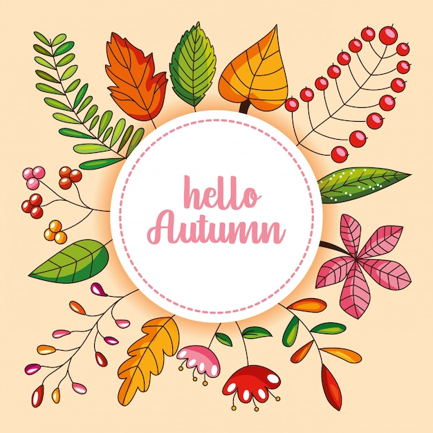 Autumn card with leaves and flower Premium Vector