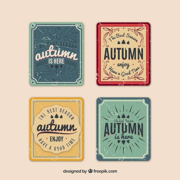 Autumn cards collection in vintage style Free Vector