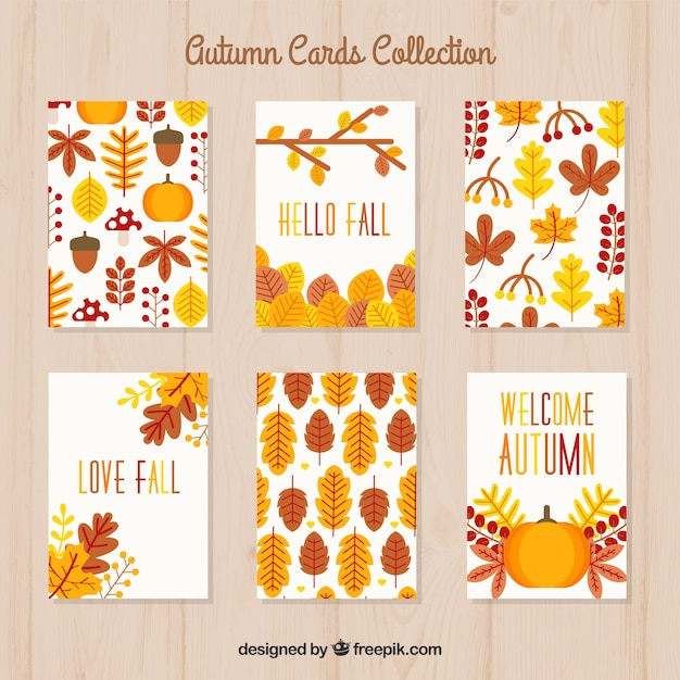 Autumn cards collection with colorful style