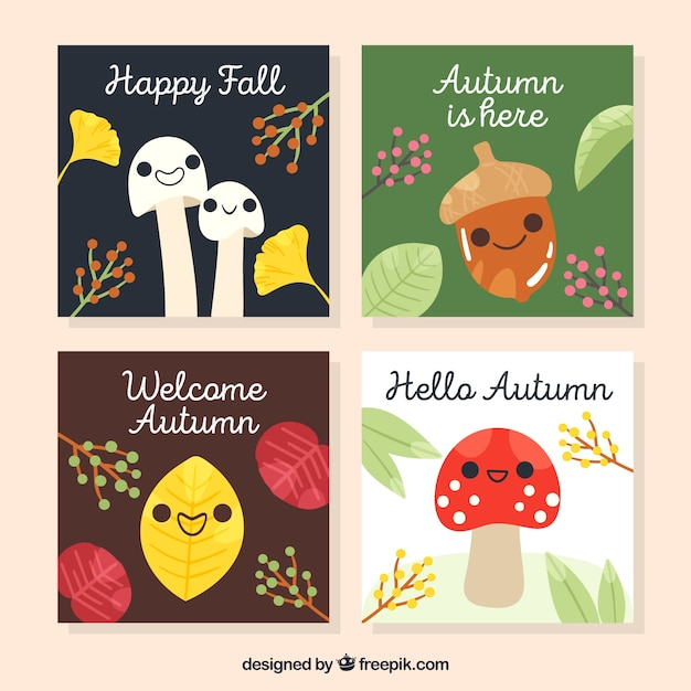 Freepik Autumn Cards Collection With Cute Cartoons Vector For Free