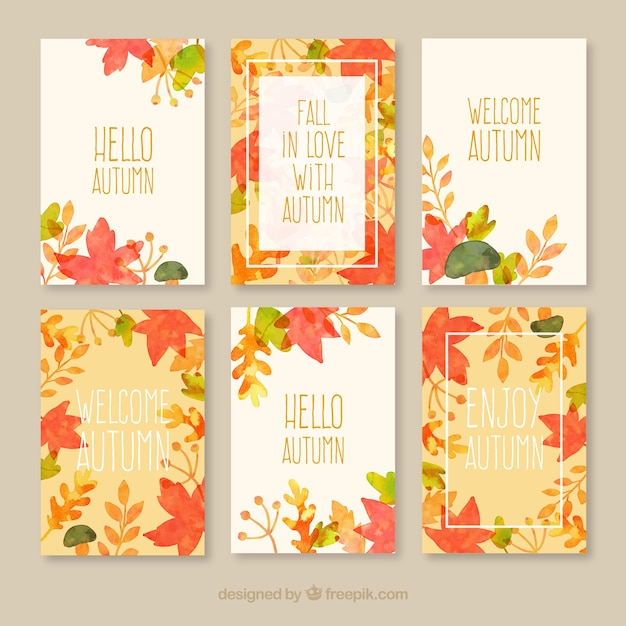 Autumn cards collection  Free Vector