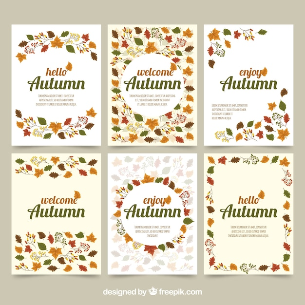 Autumn cards with leaves and elegant style vector free download autumn cards with leaves and elegant style free vector stopboris Images
