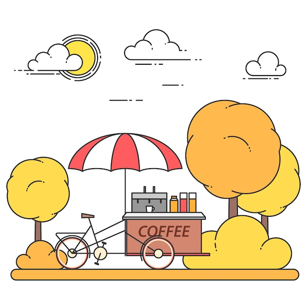 Autumn city landscape with coffee bicycle in central park. vector illustration. line art. concept for building, housing, real estate market, architecture design, property investment banner, card. Premium Vector