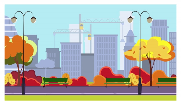 Autumn city park with trees, bushes, benches, lanterns Free Vector