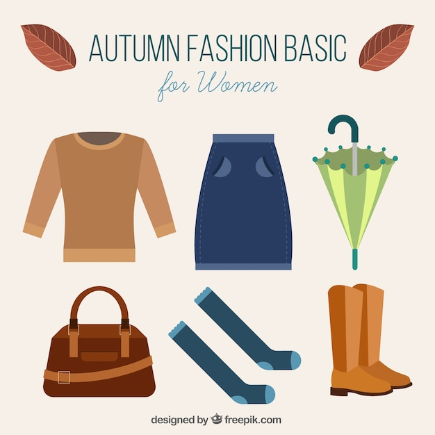 Autumn clothes and accessories Free Vector