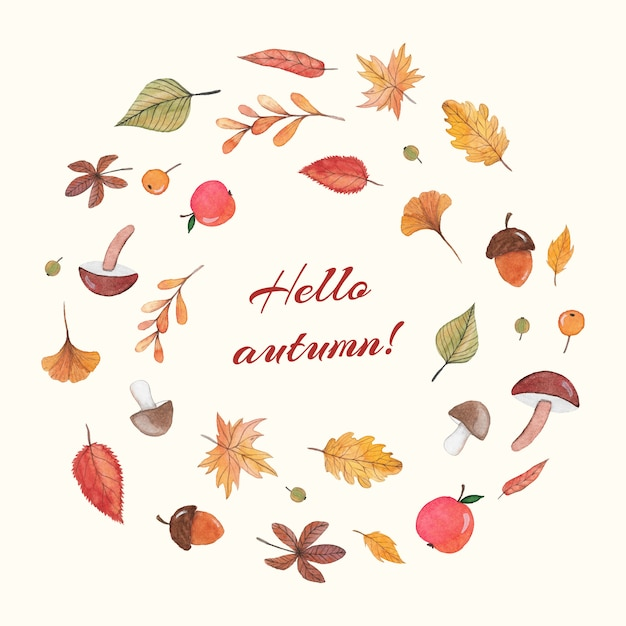 Autumn composition with watercolor elements Premium Vector