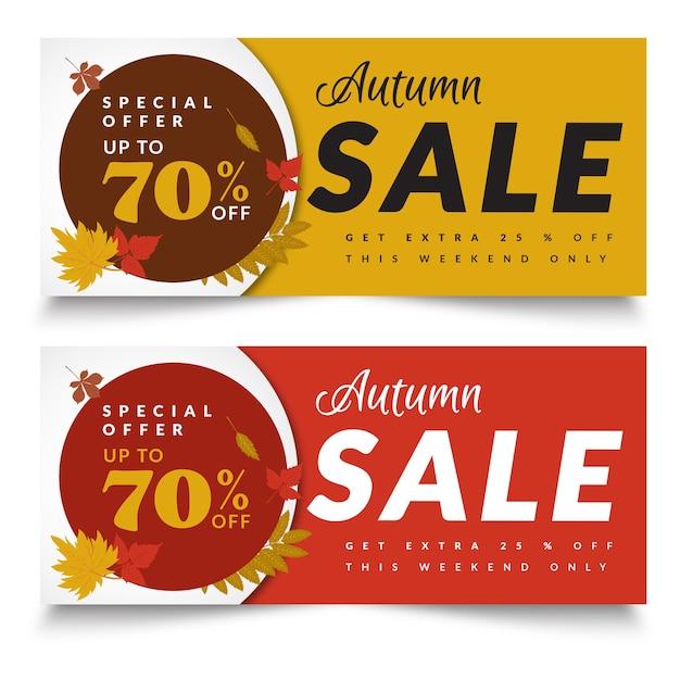 Autumn creative sale banners template Premium Vector