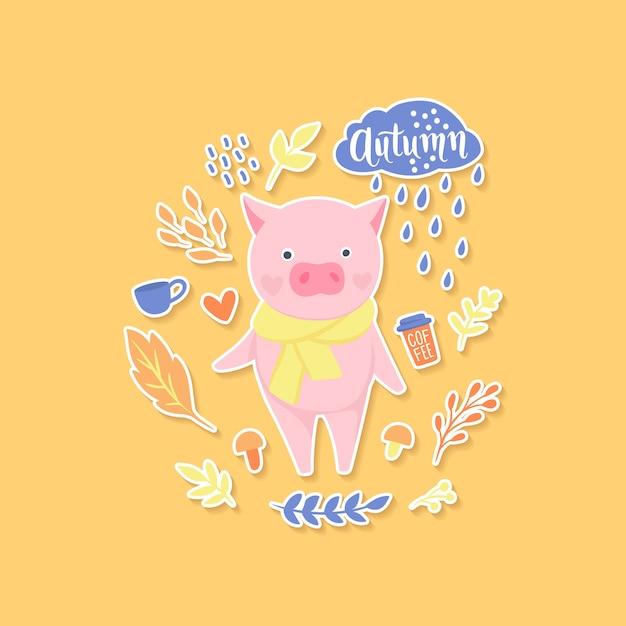 Autumn cute pig sticker Premium Vector
