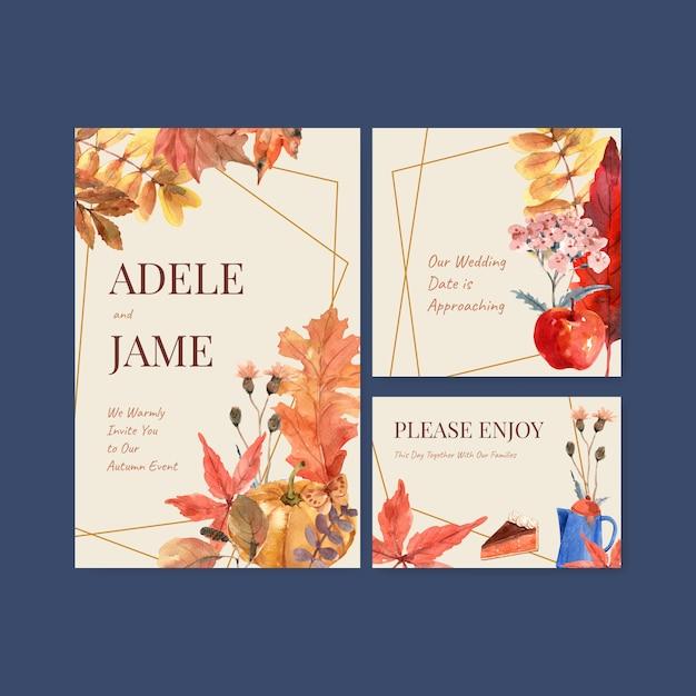 Осенний ежедневный дизайн шаблона для свадебной открытки и приглашения акварелью Бесплатные векторы