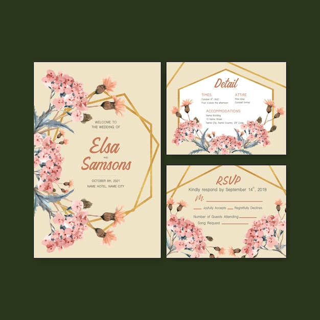 結婚式のカードと招待状の水彩画の秋の毎日のテンプレートデザイン 無料ベクター