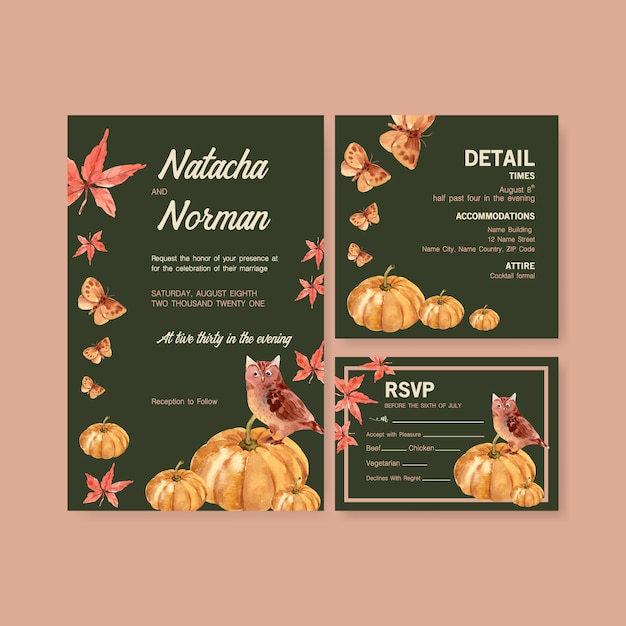 Autumn daily template design for wedding card and invitation watercolor Free Vector