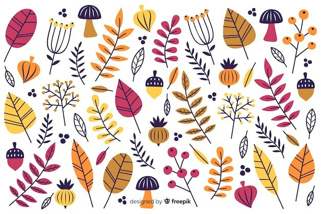 Autumn decorative background flat design Free Vector