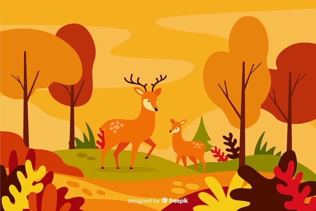 Autumn decorative background flat style Free Vector