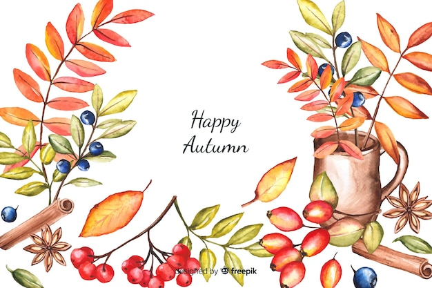 Autumn decorative background watercolor style Free Vector
