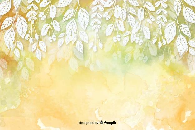 秋の装飾的な背景の水彩風 Premiumベクター