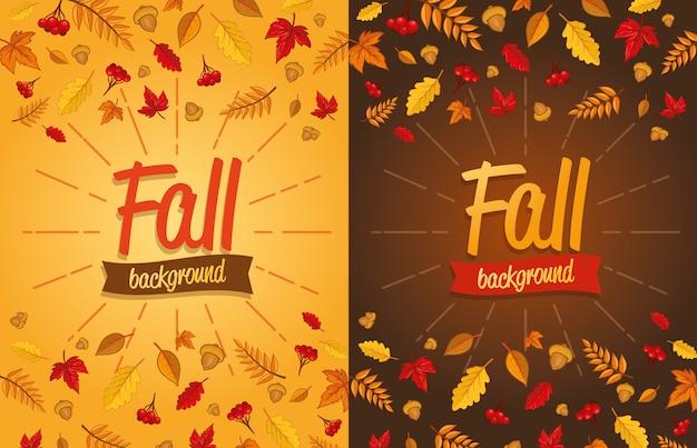 Осенний дизайн с листьями Premium векторы