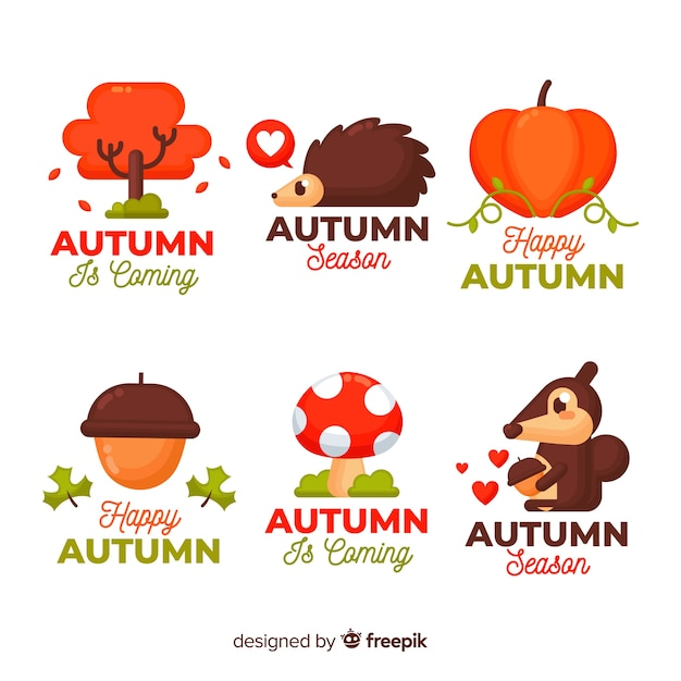 Autumn elements collection flat style Free Vector