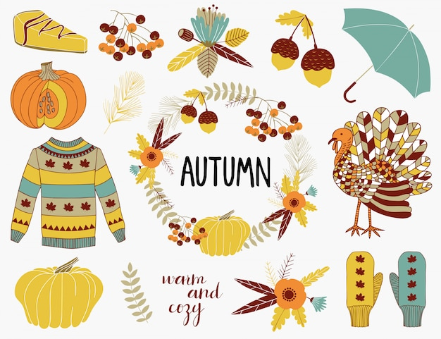 Autumn elements collection. Premium Vector