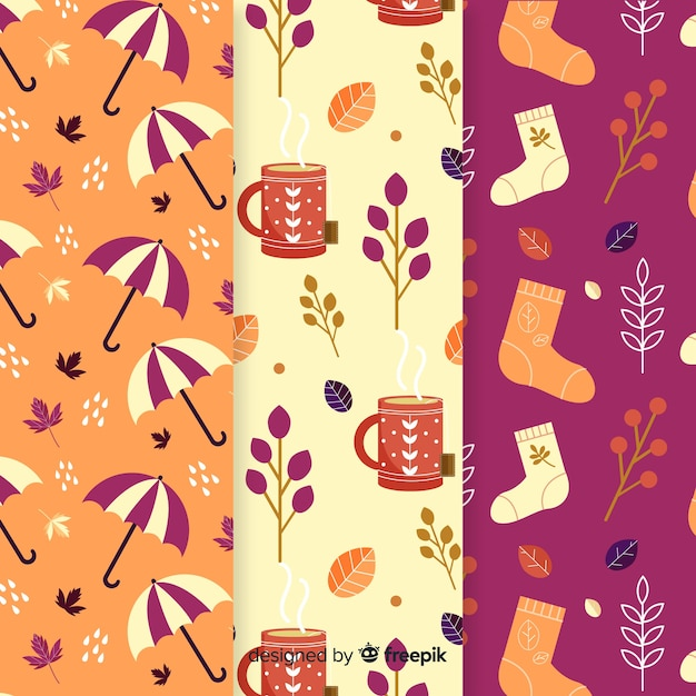 Autumn elements pattern collection flat design Free Vector