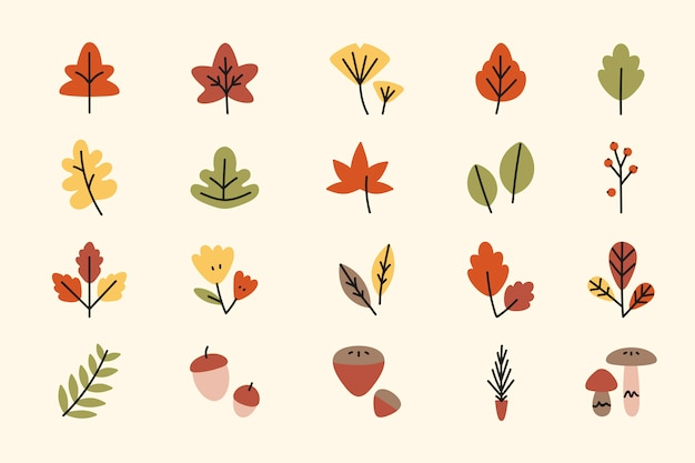 Autumn elements Free Vector