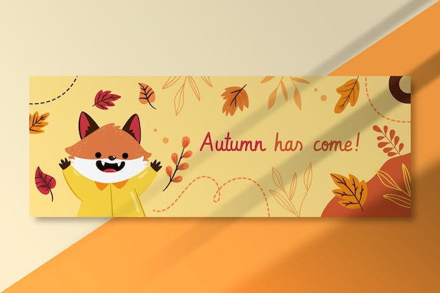 Autumn facebook cover template with fox Free Vector