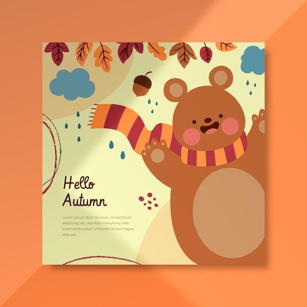 Modello di post di facebook autunnale con orso Vettore gratuito