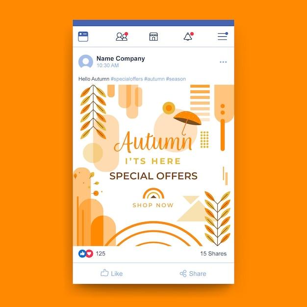 가을 facebook 게시물 템플릿 무료 벡터