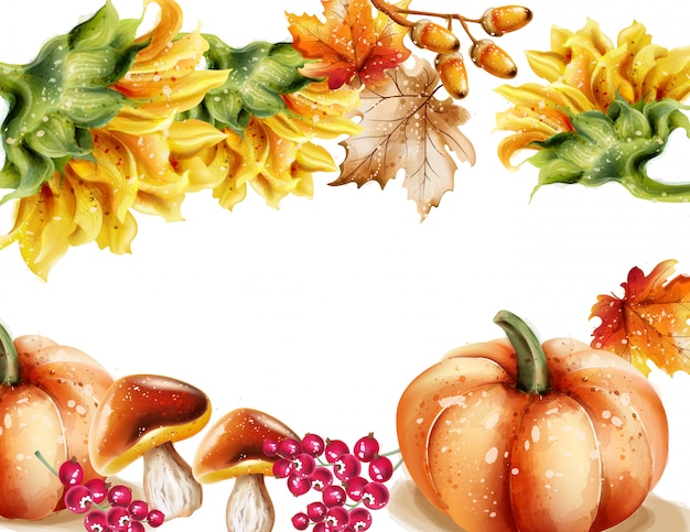 Autumn fall frame watercolor Premium Vector