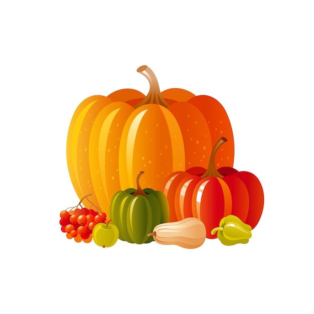 추수 축제 또는 추수 감사절에 대 한가 호박 아이콘. 야채와 함께 만화가 그림 프리미엄 벡터