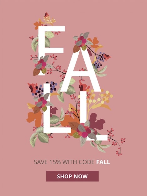 Autumn, fall and thanksgiving sale banner for mobile ad sizes. Premium Vector