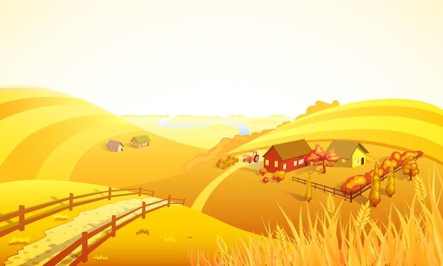 Autumn farm landscape composition Free Vector