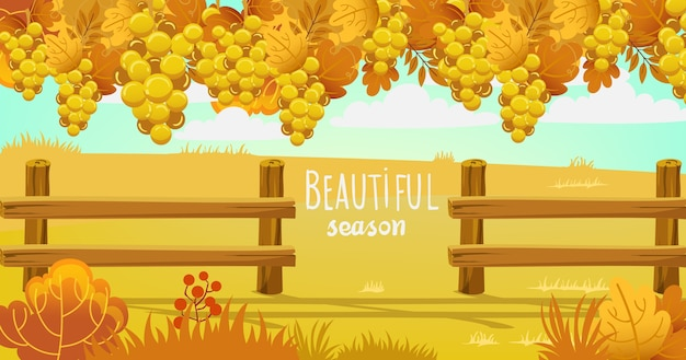 Autumn field surrounded by a wooden fence Free Vector