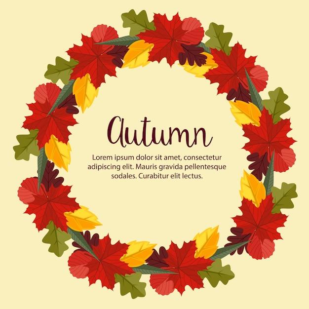 Autumn flat style nature leaves wreath background Premium Vector
