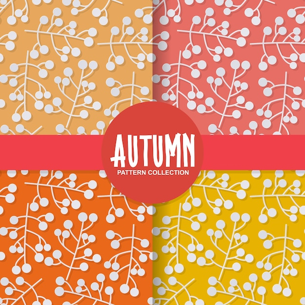 Autumn floral paper background with berry fruit on colorful background Premium Vector
