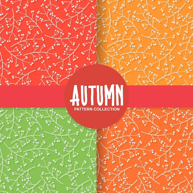 Autumn floral paper background with cherry fruit on colorful background Premium Vector