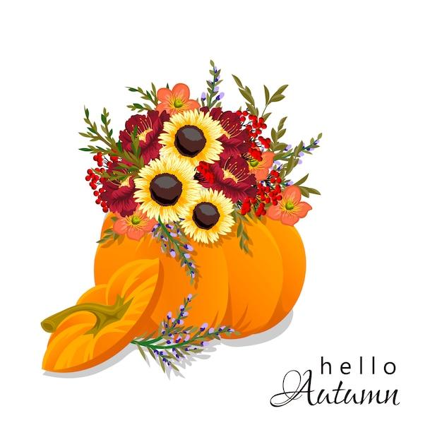 Autumn floral pumpkin composition. Free Vector