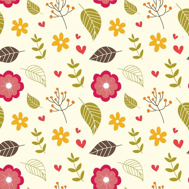 Autumn floral seamless pattern Premium Vector