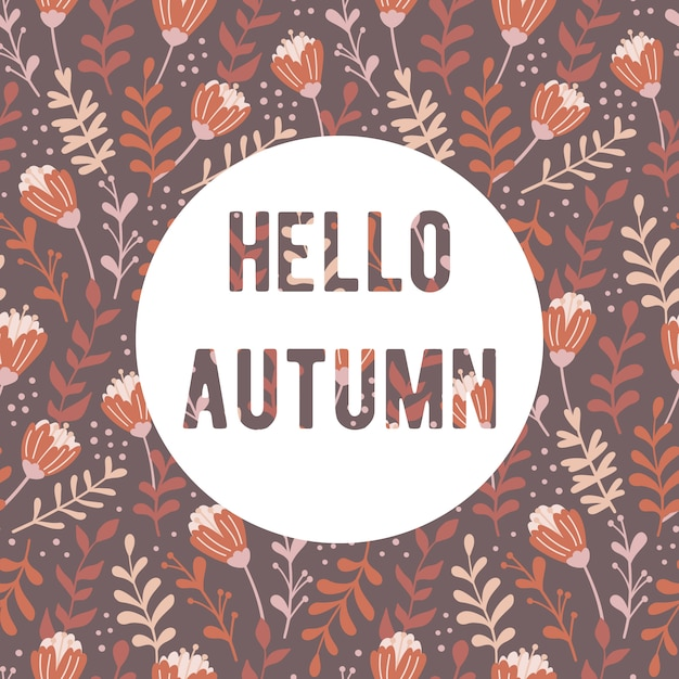 Autumn floral seamless pattern. Premium Vector