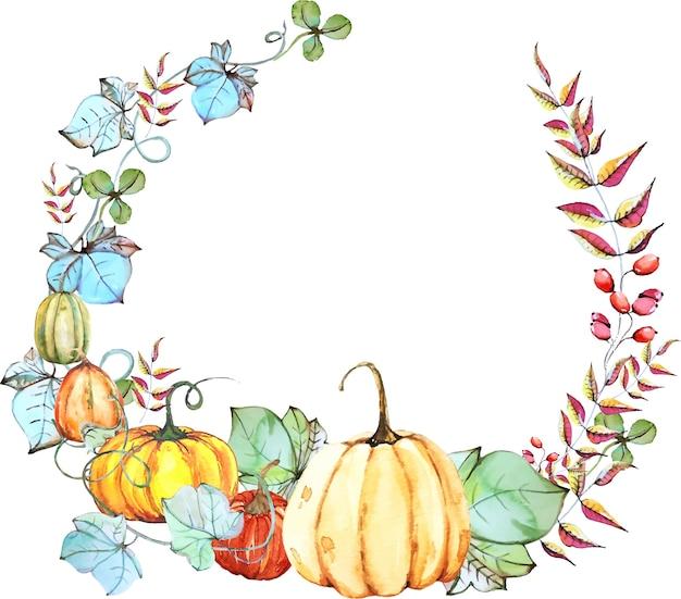 Autumn floral wreath Premium Vector